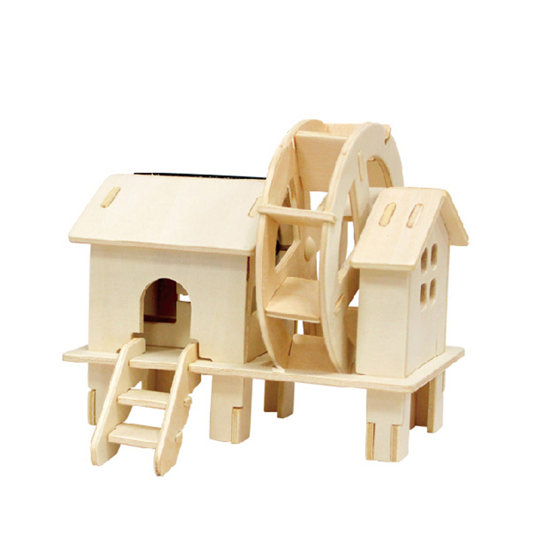 Water wheel house colored solar powered toy
