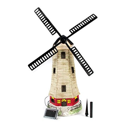 Large Garden Windmill Light House Solar Light 2 LEDs