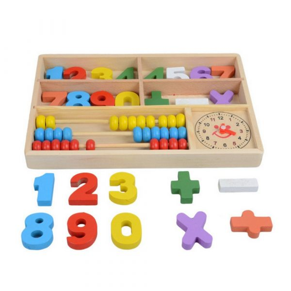 Learning box with Abacus clock and numbers